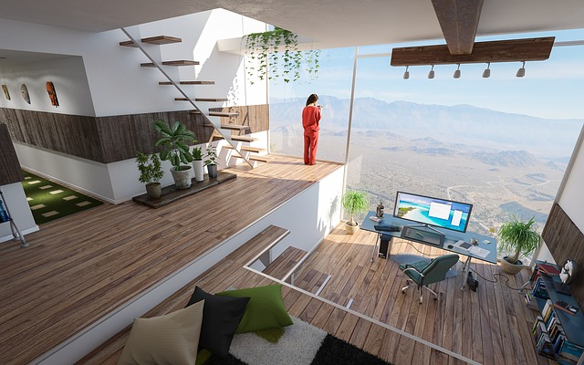 interiér, drevená podlaha, žena stojí pri okne, schodisko bez zábradlia