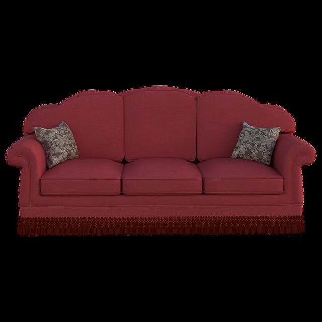 červený gauč